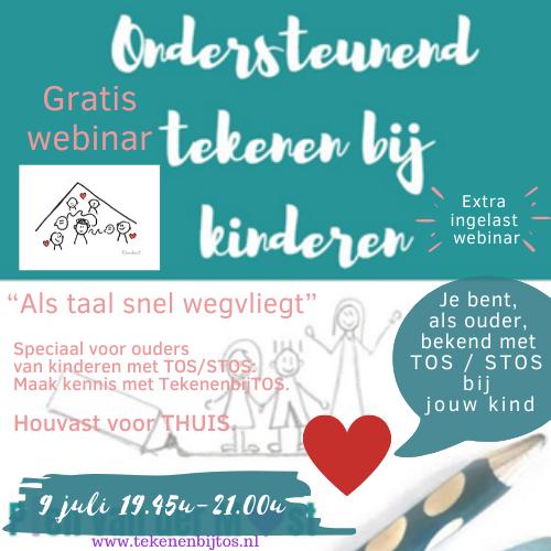 """Extra gratis webinar ingelast op 9 juli """"Kennismaken met TekenenbijTOS-kinderen"""" voor ouders"""